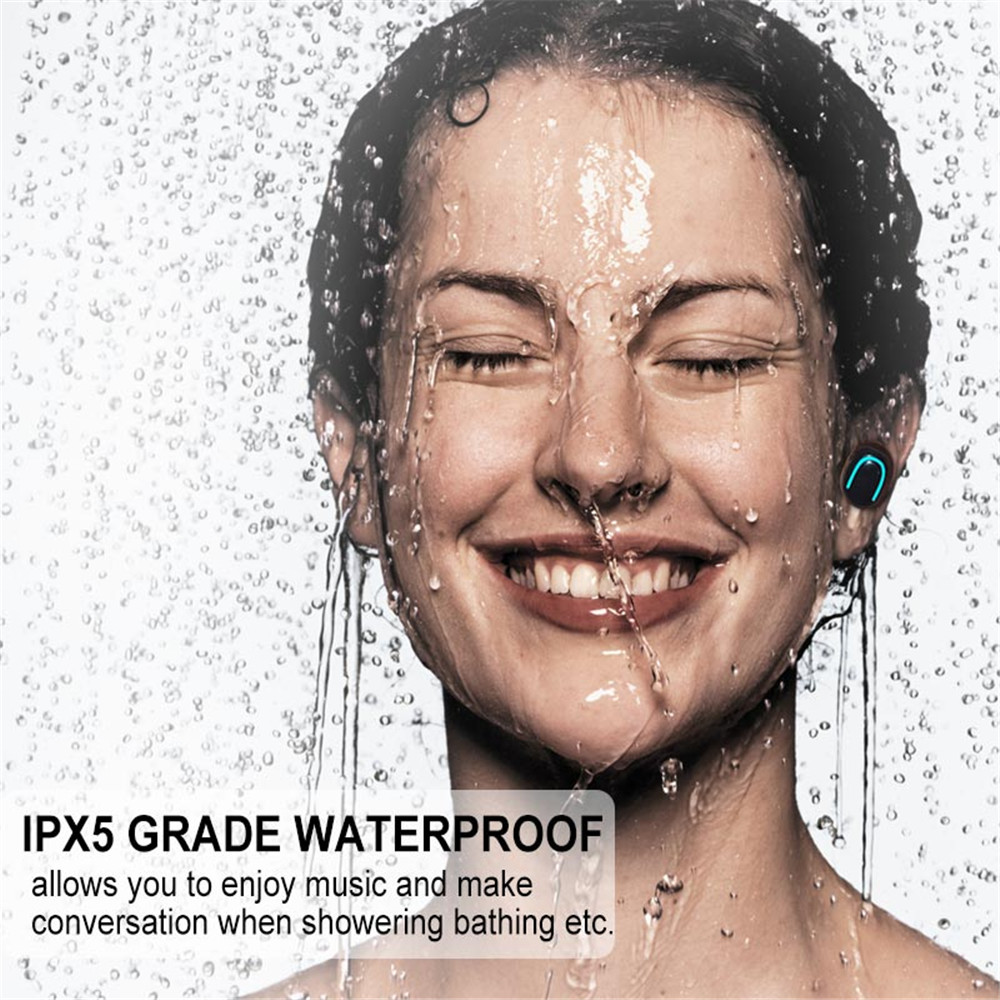 Sales IPX5 TWS Bluetooth 5 0 waterproof sports headset 6D surround stereo music headset portable headset for iPhone X XR Samsung in Bluetooth Earphones Headphones from Consumer Electronics