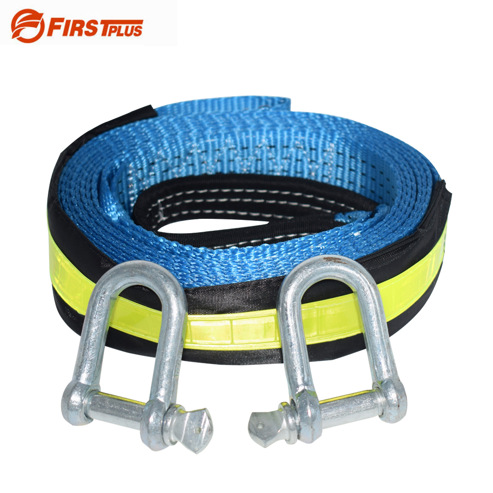 все цены на 5M 8Tons Reflective Tow Cable Tow Strap Car Towing Rope With U Steel Shackle For Heavy Duty Car Emergency Send Gloves онлайн