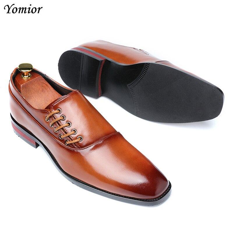Yomior New Spring Summer Men's Dress Shoes Japanese Formal Business Oxfords Vintage Men Elegant Shoes Party Wedding Shoe Black 1
