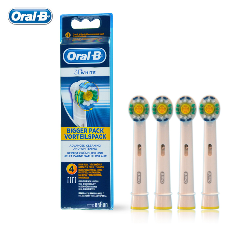 Oral B 3D WHITE Electric Toothbrush Heads Teeth Whitening Genuine Original EB18-4 Replacement Teeth brush Heads 4 pcs/pack 2017 teeth whitening oral irrigator electric teeth cleaning machine irrigador dental water flosser professional teeth care tools