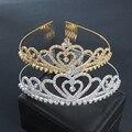 Venda quente Charme Ouro Nupcial Do Casamento da Tiara Da Coroa Do Cabelo Pente Coração Rainha Partido Strass Jóias THSC0145 Diadema