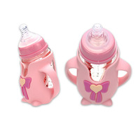 Bending Wide Mouth Baby Bottles Cute Penguin Shape Baby Learning To Drink Bottle Non Toxic Crystal