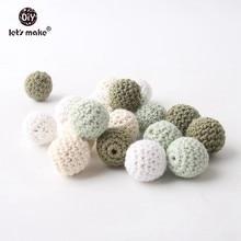 Let's make perles Crochet en bois naturel   10 pièces 20mm, sans BPA, collier soins de dentition, accessoires bricolage pour bébé anneaux de dents en bois