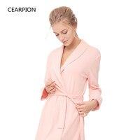 CEARPION Winter Women Pink Bride Bridesmaid Wedding Robe 100% Cotton Kimono Bathrobe Gown Long Sleeve Sleepwear Home Clothes