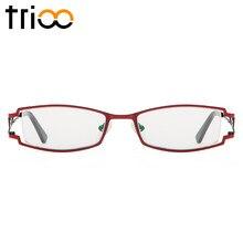 TRIOO Luxo de Titânio Óculos Mulheres Prescrição Miopia Computador Óculos  de Dioptria Lente Clara Quadrado Óculos de Leitura c8c65889f2