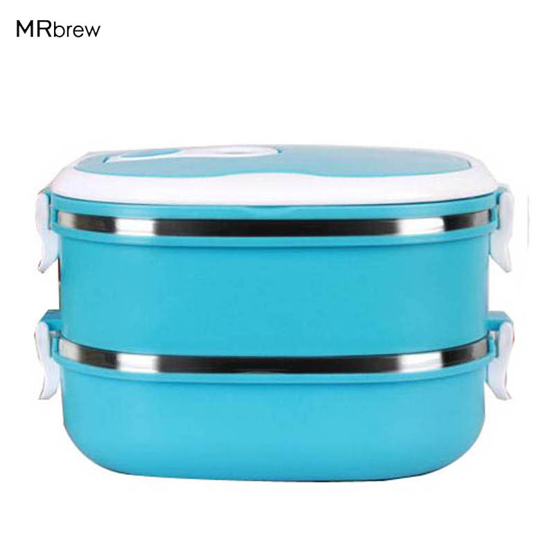 new portable two layers thermal lunch box bento box food stainless steel insulation storage. Black Bedroom Furniture Sets. Home Design Ideas