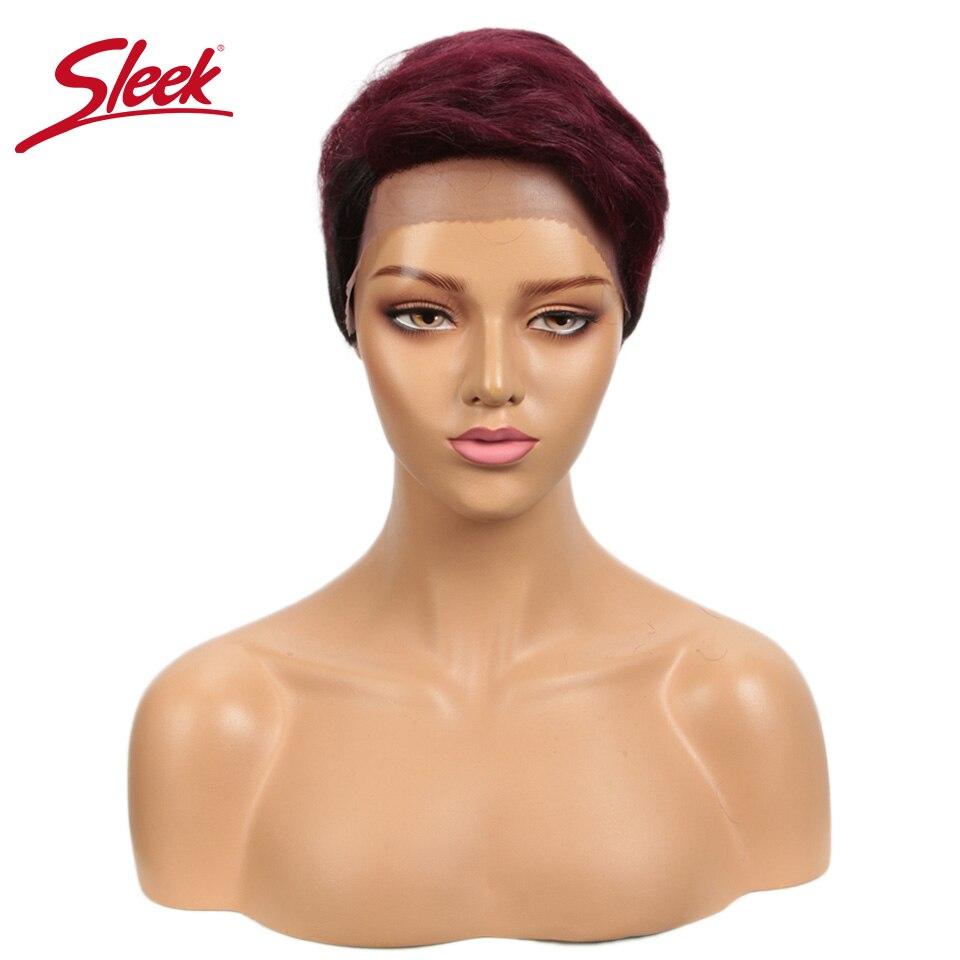 Sleek Short Human Hair Wigs Brazilian Lace Front Wig Ombre Straight Human Hair Wig Remy Lace Front Human Hair Wigs Free Shipping