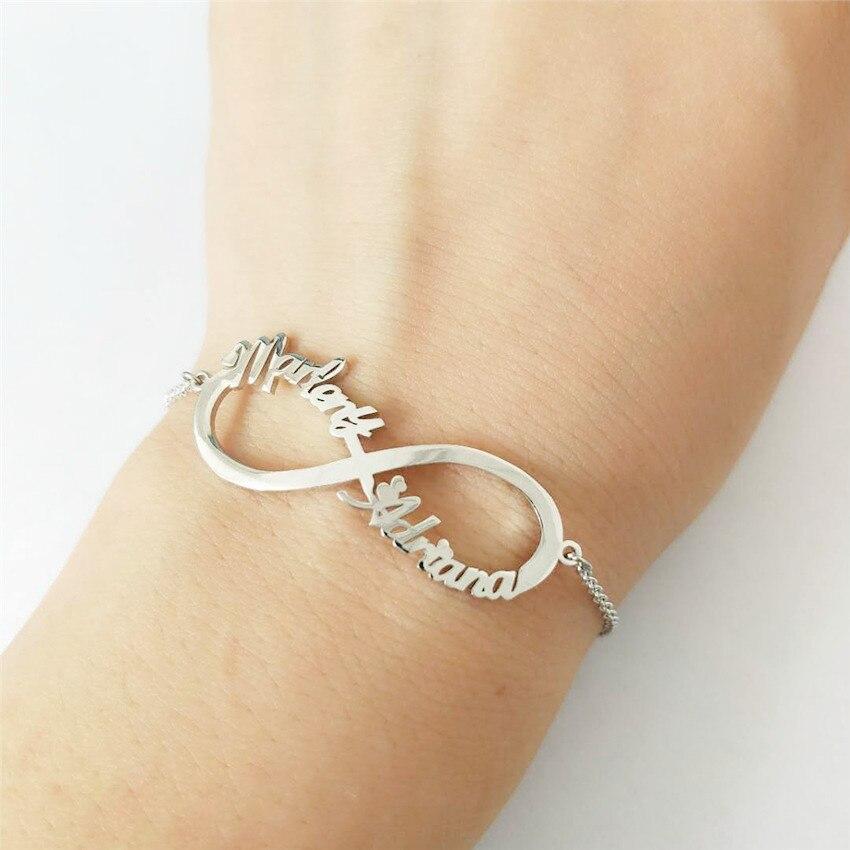 08137a28f712 V atraer colgante infinito pulsera personalizada nombre de las mujeres de  la pulsera de la joyería de los hombres mejor amigos regalo Pulseras Mujer  en ...