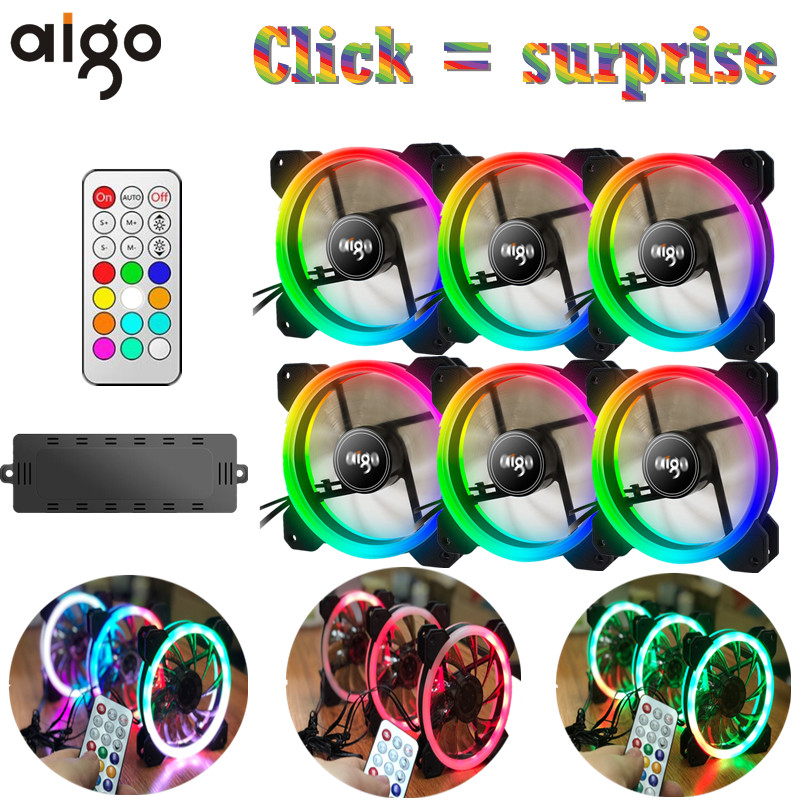 Aigo DR12 3pcs Computer Case PC Cooling Fan RGB Adjust LED 120mm Quiet + IR Remote New computer Cooler Cooling RGB Case Fan CPU 3pcs gdstime 200mm chrome metal computer pc fan grill mounting finger guard protection