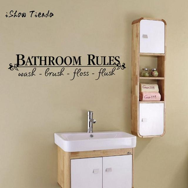 Bathroom Rules Art Wall Stickers English Words Letters Vinyl ...
