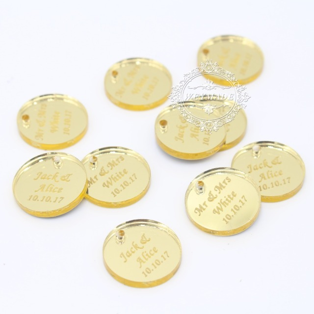 US $13 99 |100* Personalized Engraved Couple Name Round Gold Mirror Coin  Table Centerpiece Confetti Decoration Tag For Wedding & Engagement-in Party