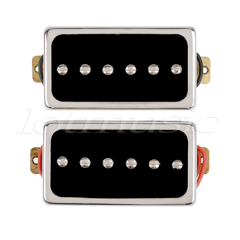 Kmise Single Coil Pickup for Electric Guitar Parts Accessories Bridge Neck Set Black with Chrome Gold Frame 2pcs chrome guitar pickup lipstick tube pickup single coil