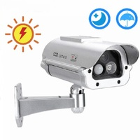 Solar Powered Outdoor CCTV Home Security decoy Fake Dummy Camera Cam With Flashing Infrared LED Lights+Human Sensor detection Surveillance Cameras