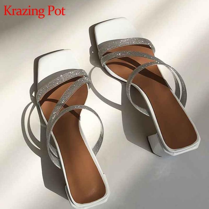 Krazing Pot plastic PVC vintage natural leather princess peep toe superstar slip on high heels fairy