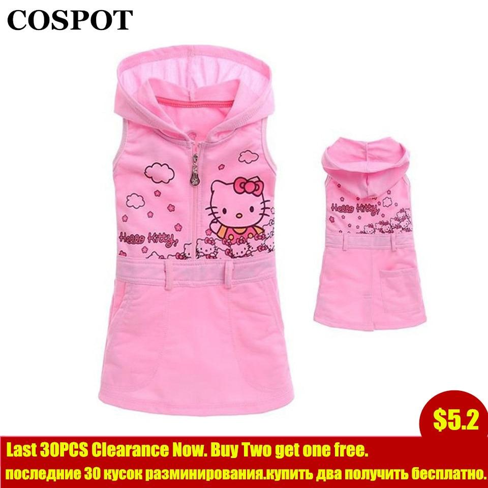 3a7047e8c320 COSPOT Baby Girls Hello Kitty Dress Baby Girl Sundress Cartoon Hooded  Dresses Kids Dress Baby Girl
