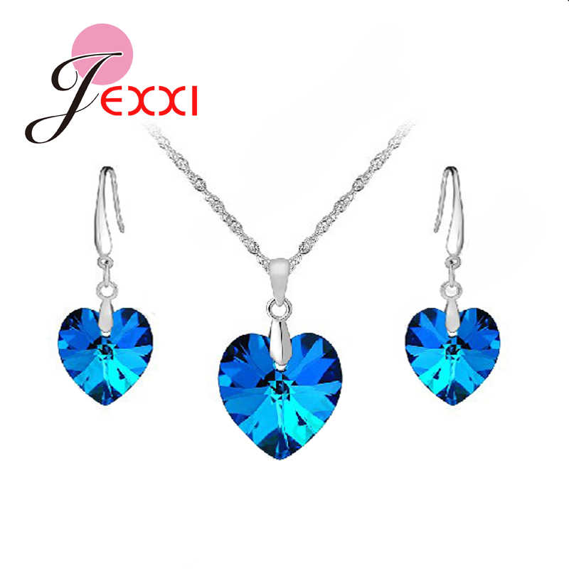 Factory Price Heart Shape Bule AAA Crystal 925 Sterling Silver Necklace Earrings Set Women Girls Party Engagement Jewelry