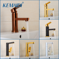 KEMAIDI Good Quality Bathroom Basin Faucet Rose Gold Polished Space Aluminium Metal Materials Single Handle Water Tap Faucets