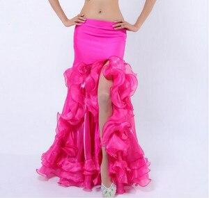 Image 5 - Sexy feminino dança do ventre fishtail saia lateral fenda roxo vermelho branco azul rosa cor sólida frete grátis