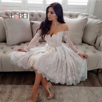 Vestido Sexy Off The Shoulder White Lace Homecoming Dresses Long Sleeves 8th Grade Graduation Dress Short Prom Dress