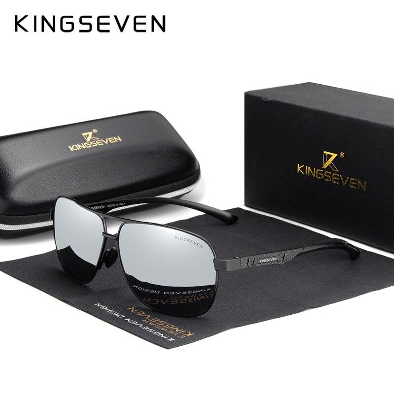 KINGSEVEN Women Men Sunglasses Polarized Mirror Lens Vintage Eyewear Driving Sun glasses Aluminum Temple Gafas de sol Masculino-in Men's Sunglasses from Apparel Accessories