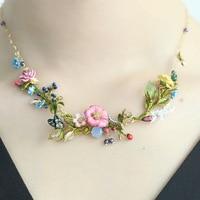France Les Nereides Purple Couple Flowers Pendant Necklace For Women Enamel Fashion Jewelry Accessories Freeshipping