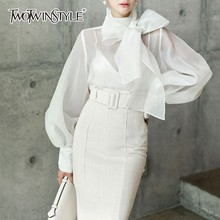 TWOTWINSTYLE Elegant Perspective Womens Tops And Blouses Lantern Sleeve  Lace Up Plus Size Shirts Female 2018 472b009361cf