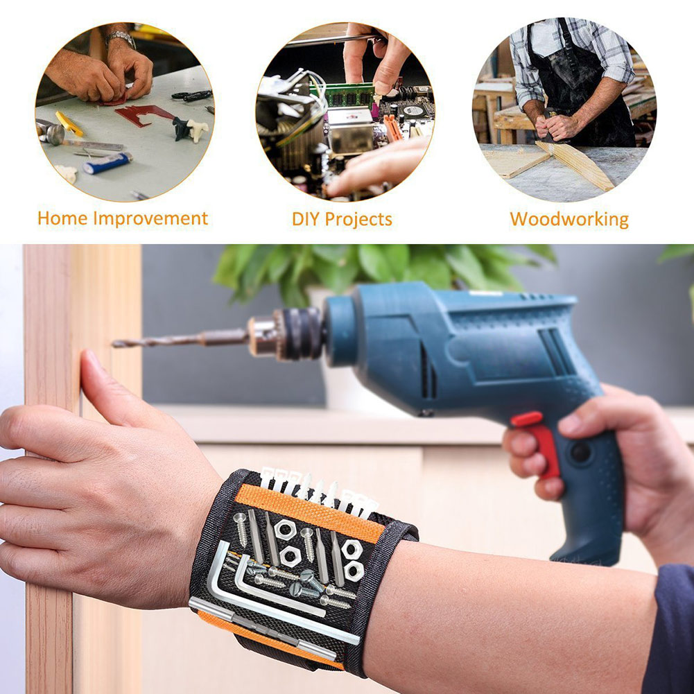 Magnetic Wristband With 10/15pcs Strong Magnets Screw Drill Bits Holder Electrician Tool Belt HUG-Deals
