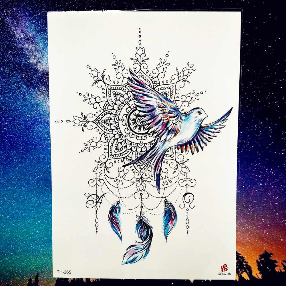 Peace Gigeon DreamCatcher Henna Mandala Flower Bird Totem Temporary Tattoo Sticker Feather Waterproof Tattoo Body Art Fake Tatoo