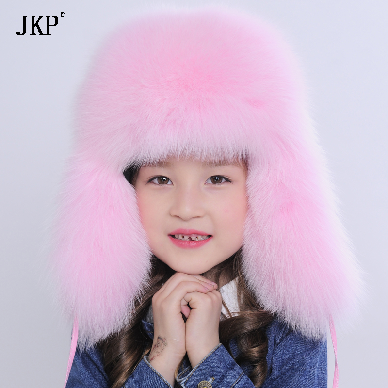Russia fur hat Winter Boy Girl Real Fox Fur Hat Parent-Children warm kids Fur Hat women Ear fox fur baby Hat cap good quality real mink fur hat winter knitted mink fur beanies cap with fox fur pom poms 2016 new brand thick female cap