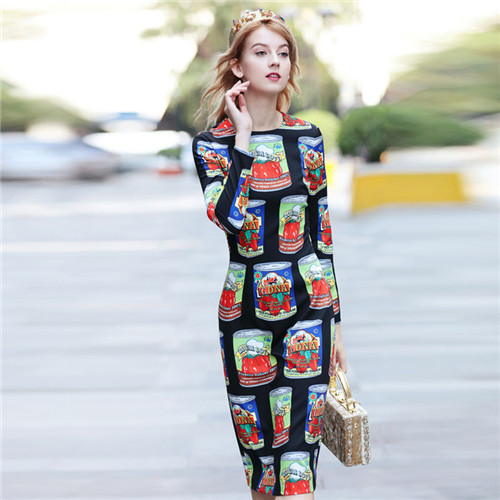 o neck 2018 Designer Brand Autumn Dress Women luxurious Cans Print Long Sleeve Dresses Vintage Pattent fit free shipping