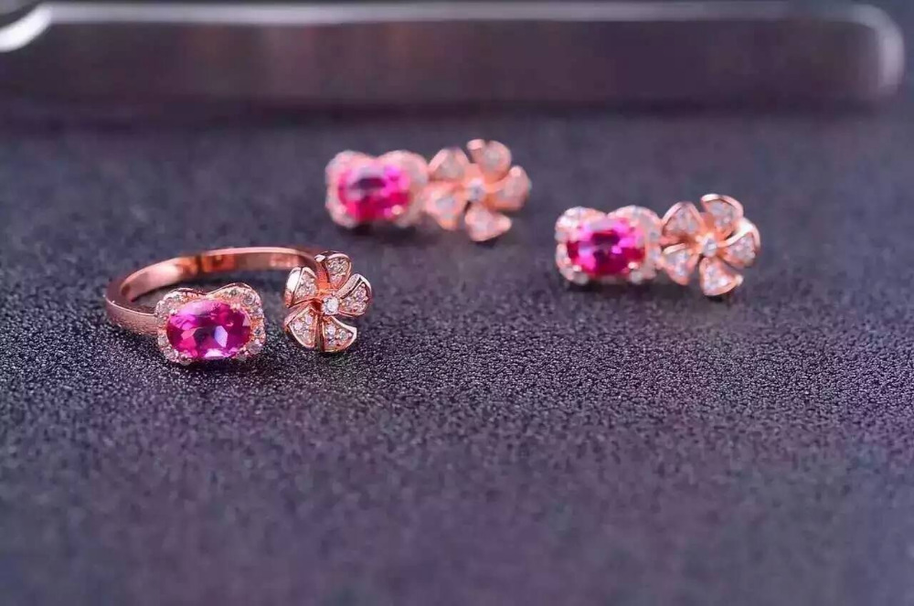 Natural pink topaz gem jewelry sets natural gemstone ring Earrings 925 silver Stylish windmill Flowers women wedding jewelry stylish daisy flowers solid color ring for women