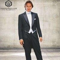 LN005 2017 Cổ Điển Phong Cách Đen Satin Đuôi Áo Groom Tuxedo Rễ Phụ Phù Hợp Với Made Tuỳ Tailcoat (áo + quần + vest)