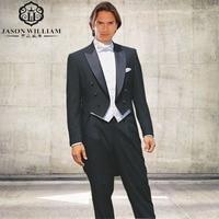 LN005 2017 Classic Style Black Satin Tail Coat Groom Tuxedos Groomsman Suit Custom Made Tailcoat (jacket+pants+vest)