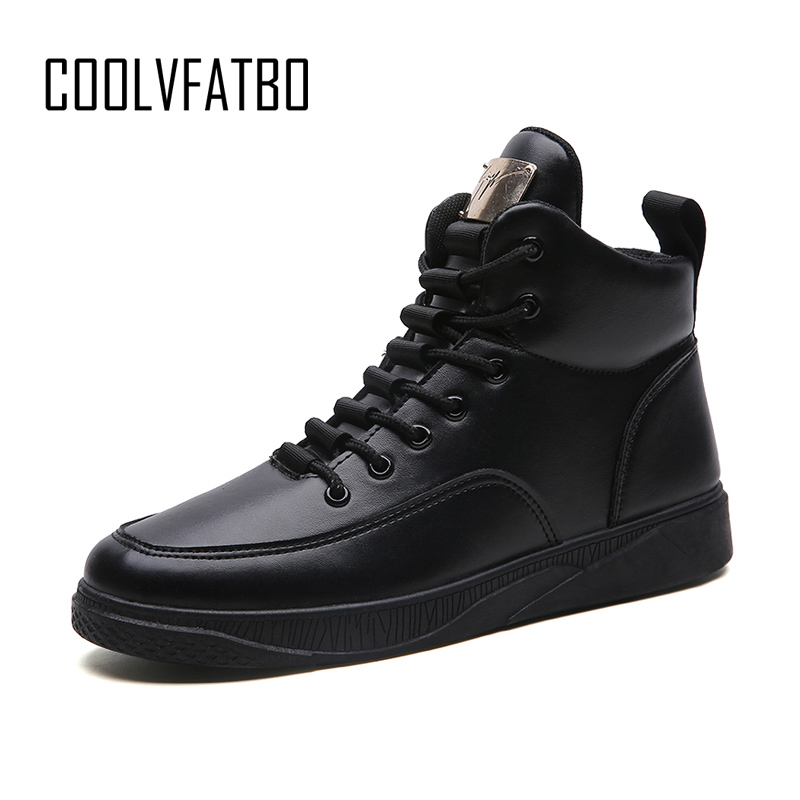 COOLVFATBO Men Fashion Shoes Winter Brand Casual Breathable Canvas High Top Shoes Lace Up  Rubber Sole PU Leather Trainers Boots