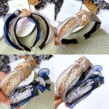 Korea Flowers Hand Made Sequins Fabric Retro Hair Accessories Diamond Band Bows Flower Crown Headbands For Women 4