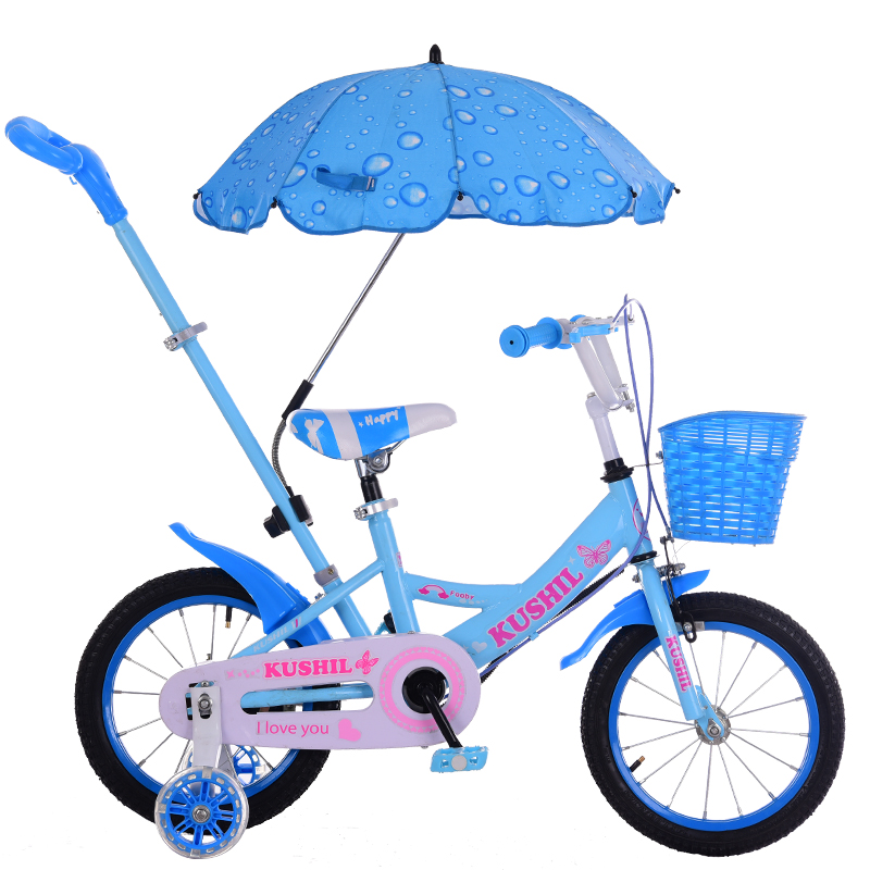 Children Bike With Removable Pusher/Umbrellas Hand-propelled Bicycle With 2 Flash Auxiliary Wheels Anti-rollover Trolley
