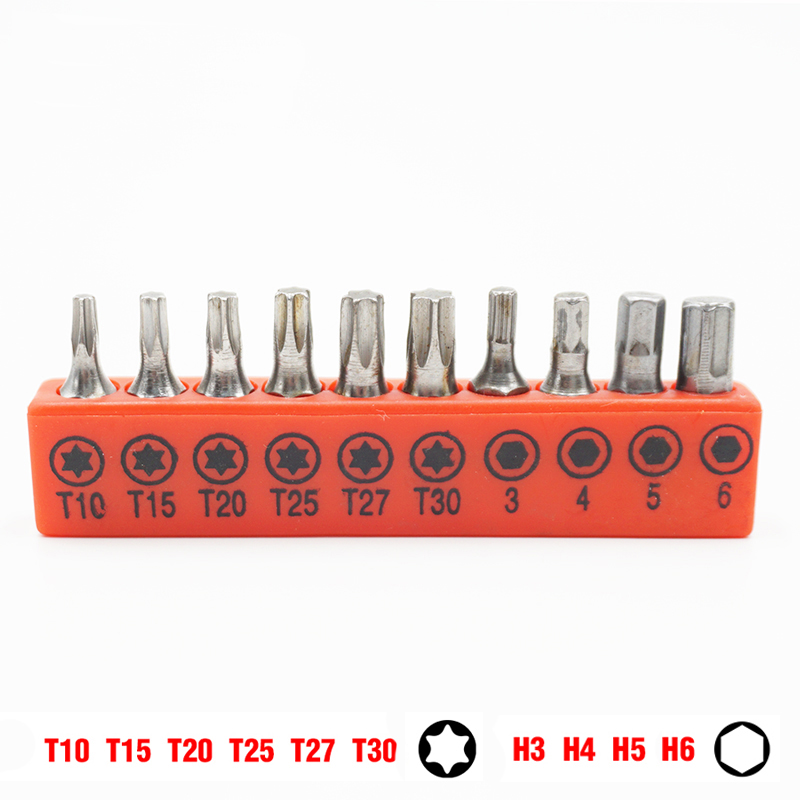10pcs/set Insert Screwdriver Bit Set 1/4 Inch Hex Shank 25mm Long Torx Hex Screwdriver Hand Tool T10-T30 H3-H6 Screw Head