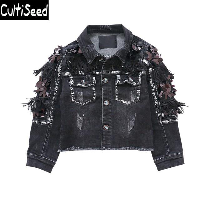 789e79308f7e5 Girls Black Denim Jeans Jacket Coat Baby Kids Turn Down Collar Tassel  Sequin Outerwear Coat Children Korean Jacket with Pocket
