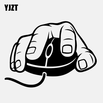 YJZT 13.5CM*9.7CM Computer Mouse Decal Video Gaming Vinyl Black/Silver Car Sticker C22-0295 image