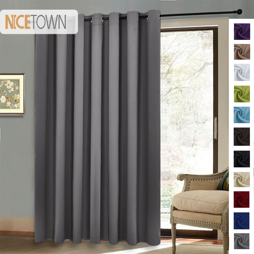 US $34.2 10% OFF|NICETOWN Blackout Room Divider Sliding Curtains Glass Door  Bedroom Window Curtain for Living Room Rustic Decorations for Home-in ...