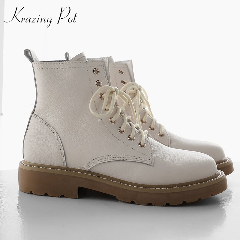 купить krazing pot new arrival genuine leather round toe cowboy western boots women European concise simple lace up ankle boots L25 недорого