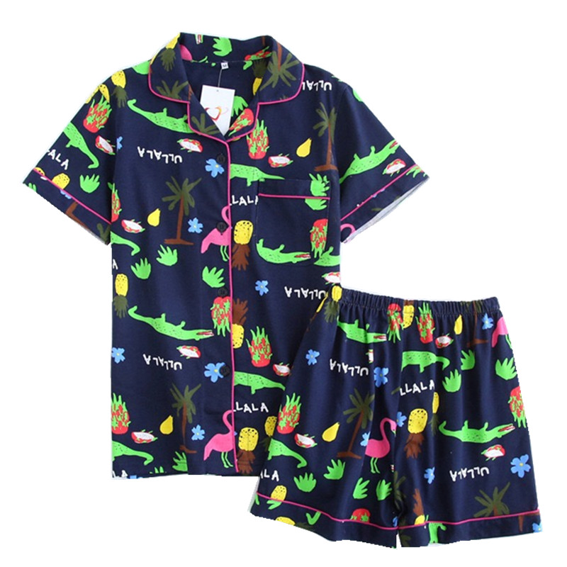 New Summer Women's Short-sleeved Pajamas Suit Cartoon Home Service Ladies Casual Pajamas Wholesale