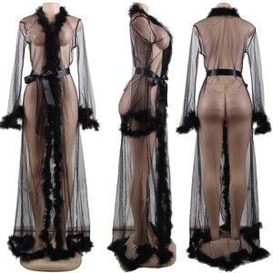 Image 5 - Dantel iç çamaşırı elbise uzun sırf artı boyutu seksi elbise Babydolls kadınlar şeffaf Dessous seksi sıcak erotik iç çamaşırı kürk R80759