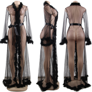 Image 5 - Lace Lingerie Robe Long Sheer Plus Size Sexy Dress Babydolls Women Transparent Dessous Sexy Hot Erotic Underwear With Fur R80759