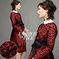 140 см в ширину 360 г/м жаккардовая черно-красная полиэфирная хлопковая ткань для осени и зимы пальто платье костюм
