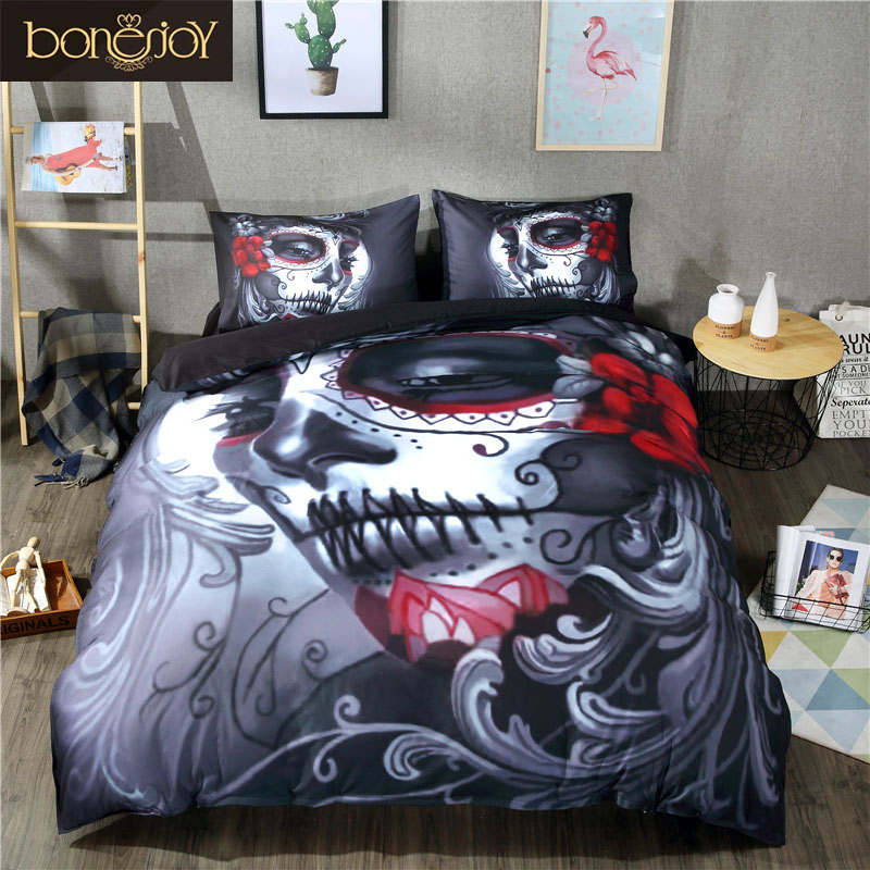 Bonenjoy Black Skull Bedding Set Halloween Style Bed Sheet