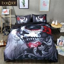 Conjunto de ropa de cama de calavera negra de Bonenjoy juego de edredón de cama de estilo de Halloween juego de sábanas de cama de Reina rey de cama doble de algodón mezcla de flores