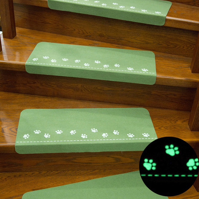 2pcs Anti Skid Stairway Tread Set Stair Treads Rugs Pads Adhesive Night  Luminous Staircase Carpet