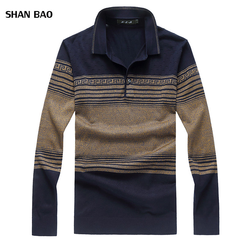 New Arrival Brand Pullover Men Winter Fashion Slim Turn-down Collar Striped Pull Homme High Quality Mens Pullover Sweater 8XL