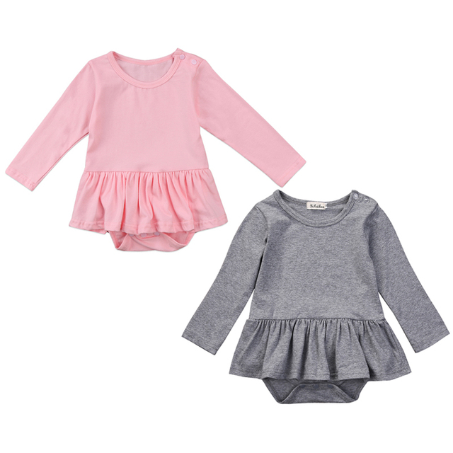afedb87889 Cute Newborn Baby Girl Long Sleeve Solid Color Cotton Tutu Skirted Romper  Jumpsuit Outfits Baby Clothes 0-24M